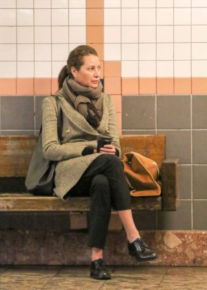 Christy Turlington at the subway in Tribeca