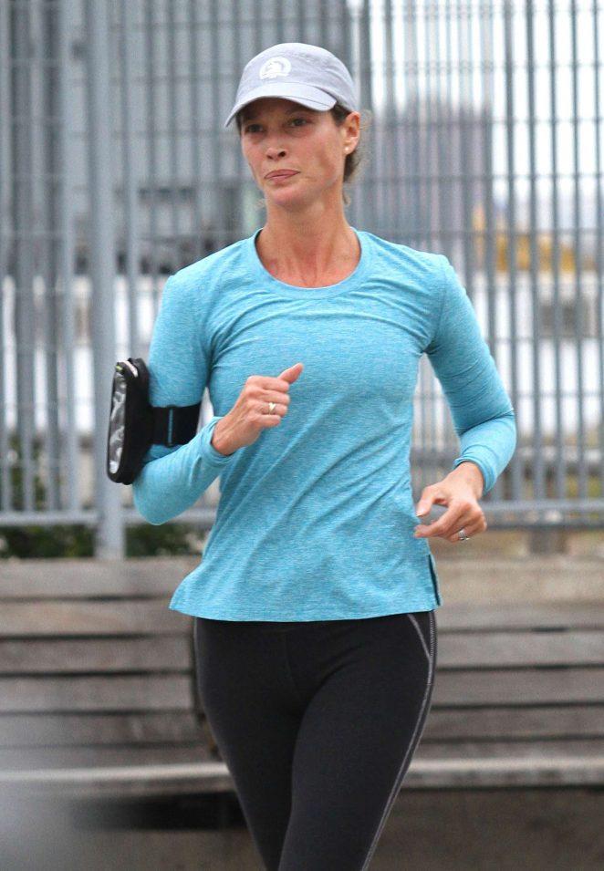 Christy Turlington in Tights jogging in NY
