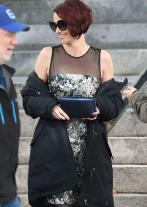 Chyler Leigh on set of the 'Arrowverse' crossover episodes in Vancouver