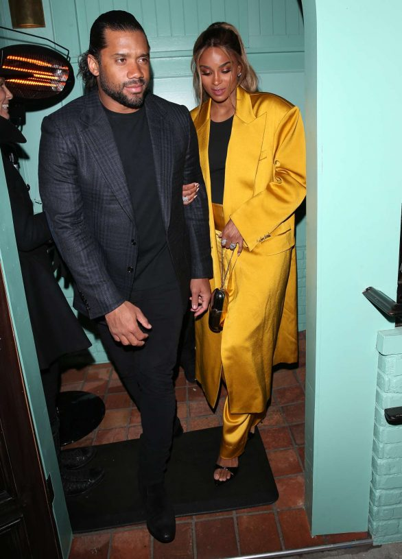 Ciara and Russell Wilson - Dinner date at 'Olivetta' Restaurant in West Hollywood