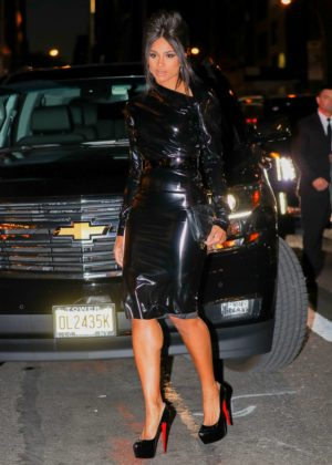 Ciara in a PVC dress arrives at the BVLGARI flagship reopening in NYC