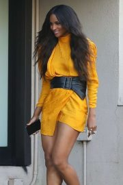 Ciara in Bright Tangerine Mini Dress at Nobu in Los Angeles