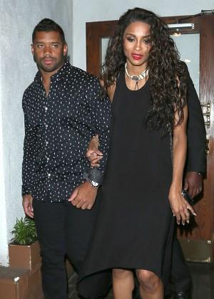 Ciara in Black Dress Leaves Madeos Restaurant