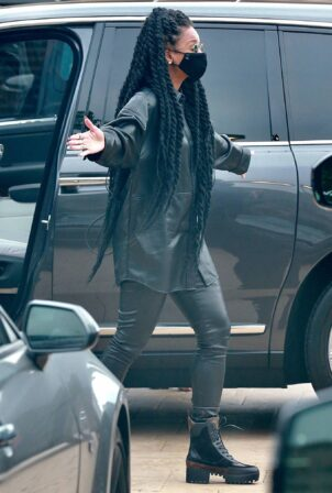 Ciara - Steps out in an all black leather at Nobu in Malibu