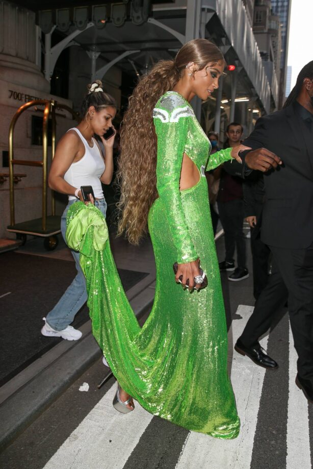 Ciara - Wears a football-themed gown for the Met Gala in New York