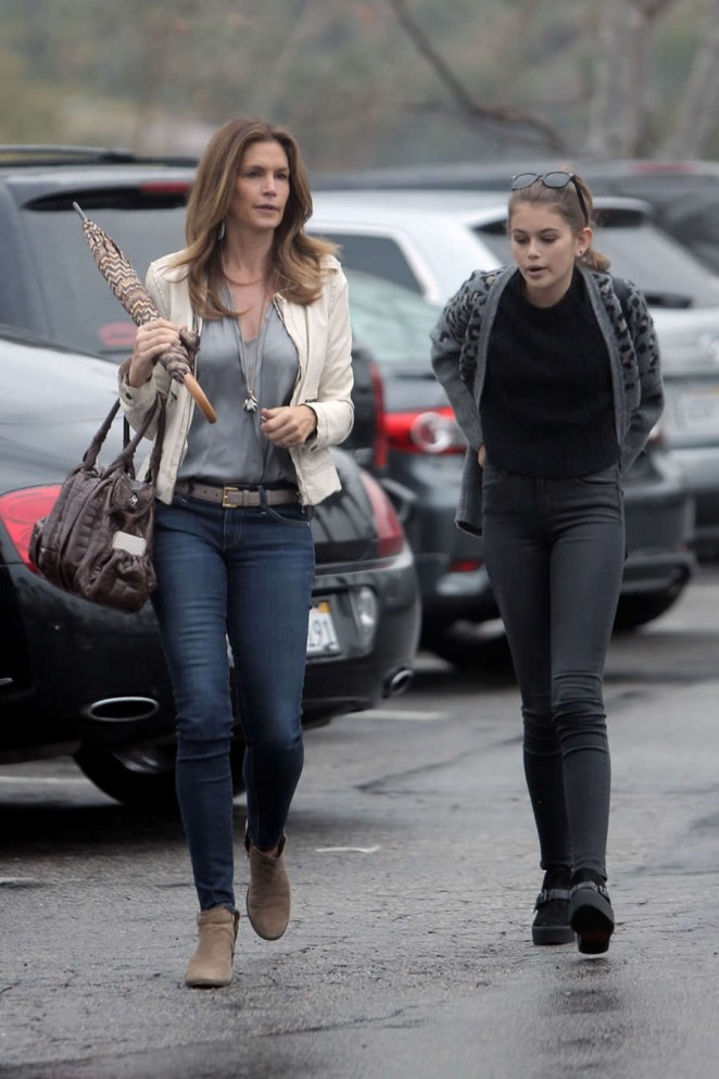 Cindy Crawford and her daughter Kaia Gerber in Tights out in Malibu