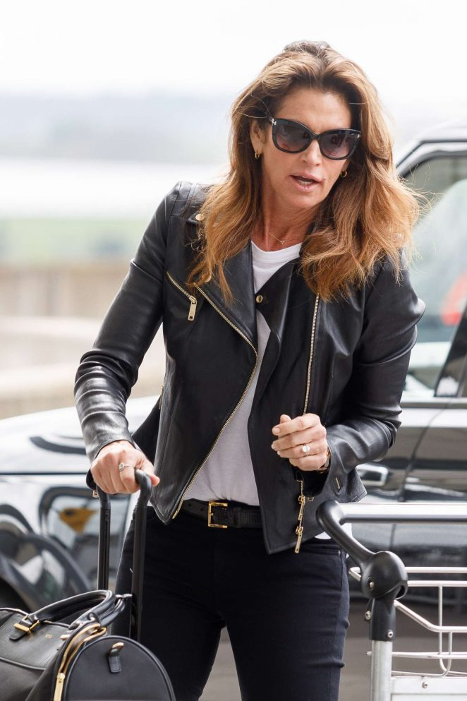 Cindy Crawford at Heathrow Airport in London