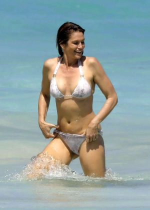 Cindy Crawford in Bikini on the beach in St. Barts