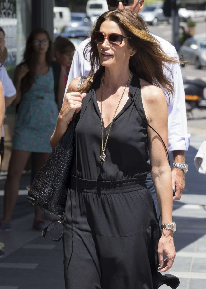 Cindy Crawford in Black Dress shopping in Sydney