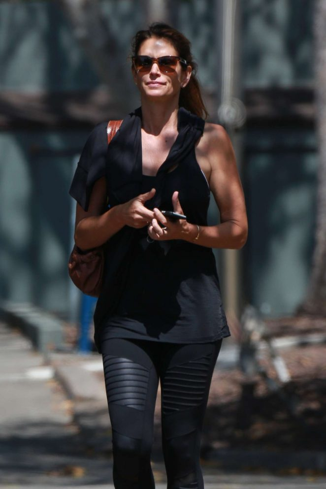 Cindy Crawford in Black Tights out in Malibu