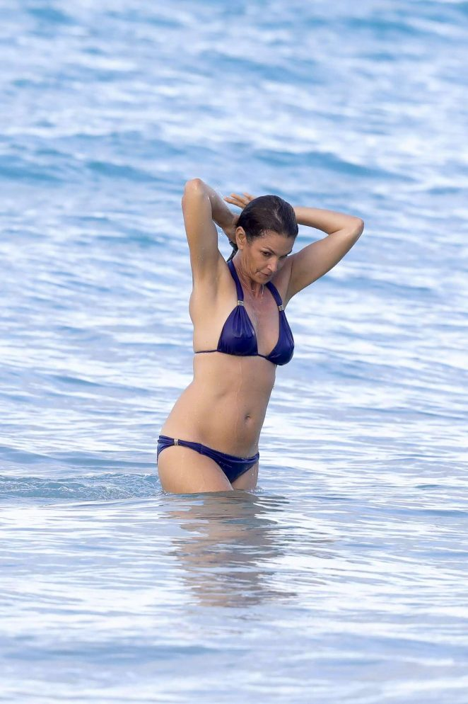 Cindy Crawford in Blue Bikini in St Barts