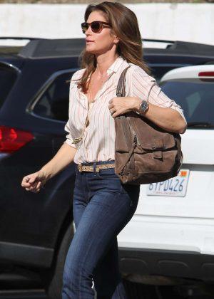 Cindy Crawford in denim pants out in Malibu