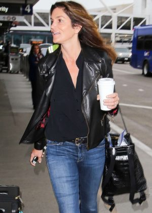 Cindy Crawford in Jeans at LAX Airport in Los Angeles