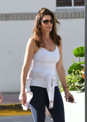 Cindy Crawford in Tights on Christmas morning in Miami