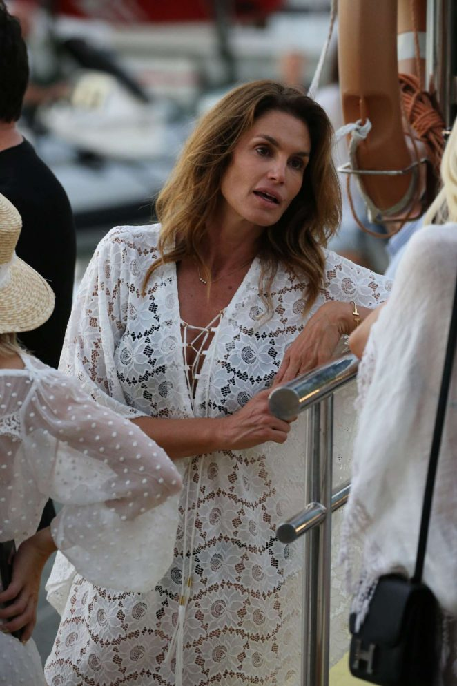 Cindy Crawford in White Mini Dress out in St Barth
