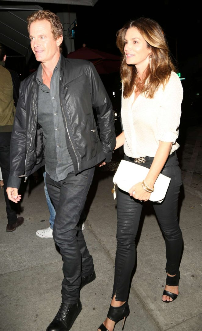 Cindy Crawford with her husband Rande Gerber at Craig's in LA