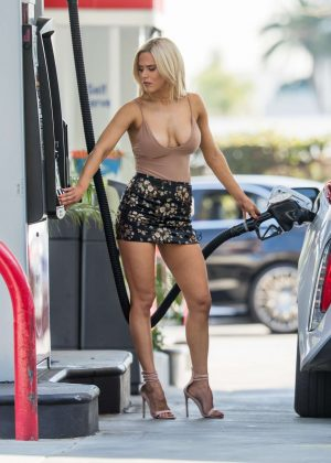 CJ Perry Lana at gas station in Beverly Hills