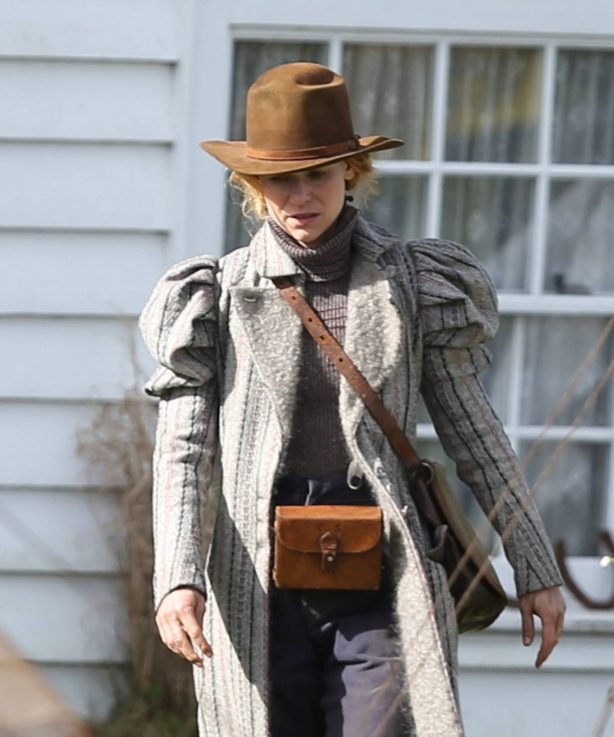 Claire Danes - In a Victorian costume for 'The Essex Serpent' in London