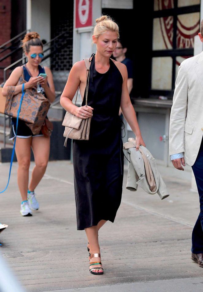 Claire Danes in Black Dress Out in New York
