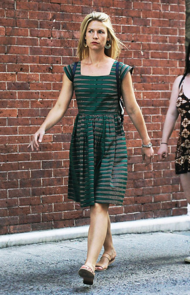 Claire Danes in Green Dress out in NYC