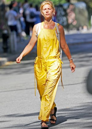 Claire Danes in Yellow Jumpsuit out in NYC