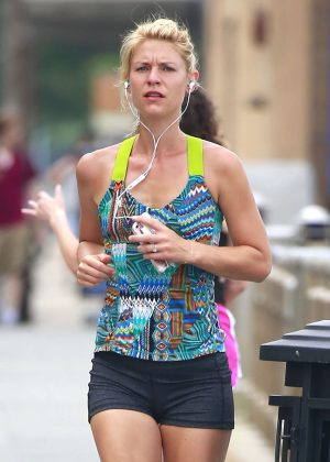 Claire Danes jogging in New York City