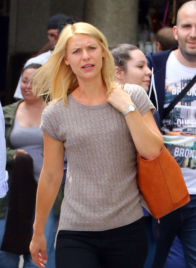 Claire Danes on the set of the Homeland in NYC