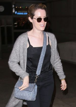 Claire Foy - Arrives at LAX Airport in Los Angeles