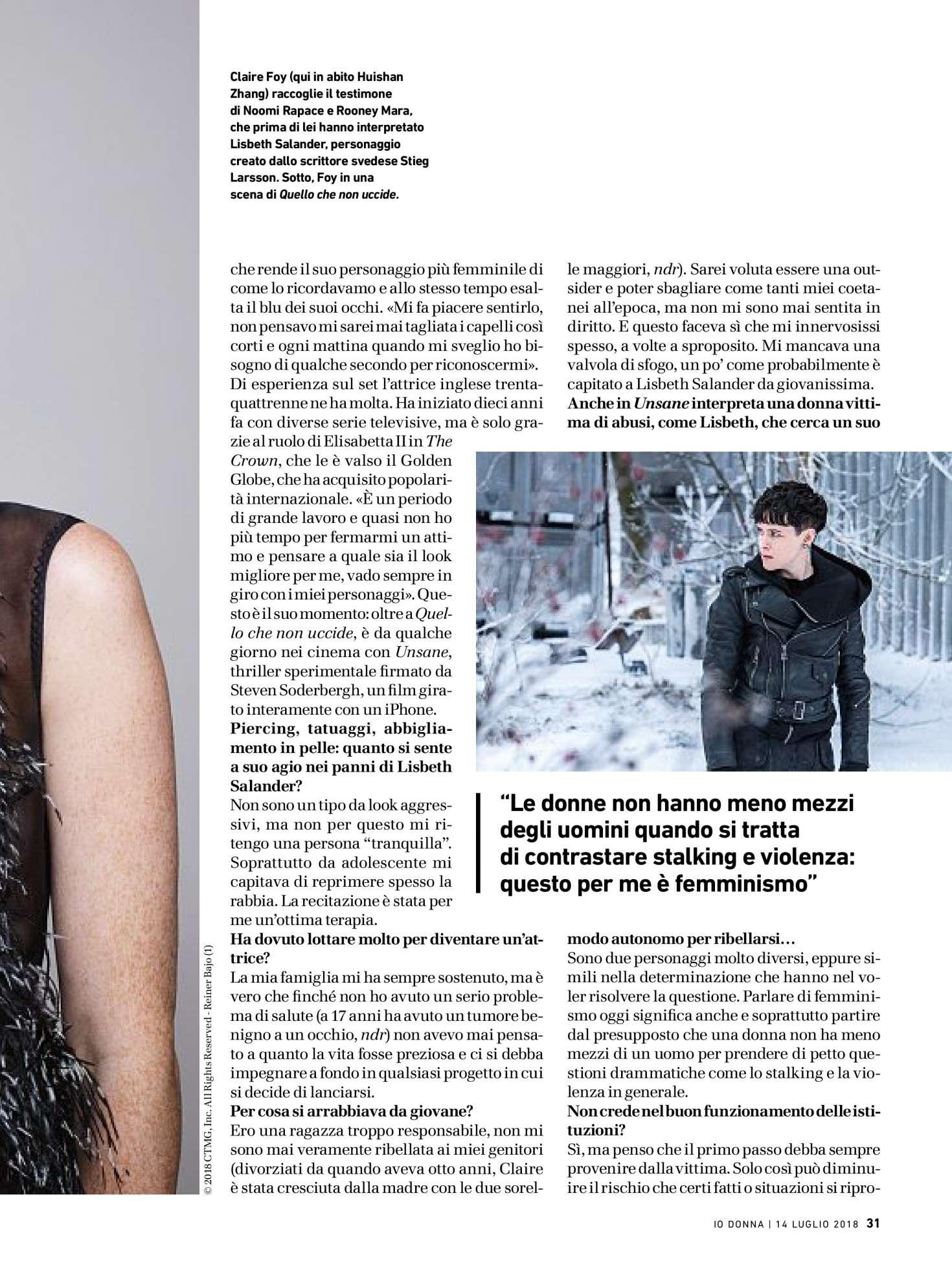 Claire Foy 2018 : Claire Foy: Io Donna del Corriere della Sera 2018 -04