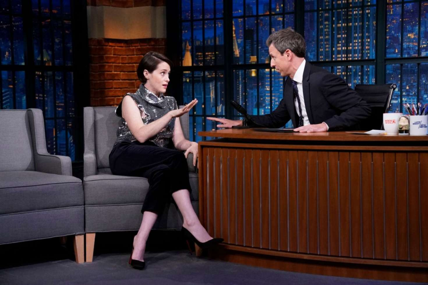 Claire Foy 2018 : Claire Foy on Late Night with Seth Meyers -01