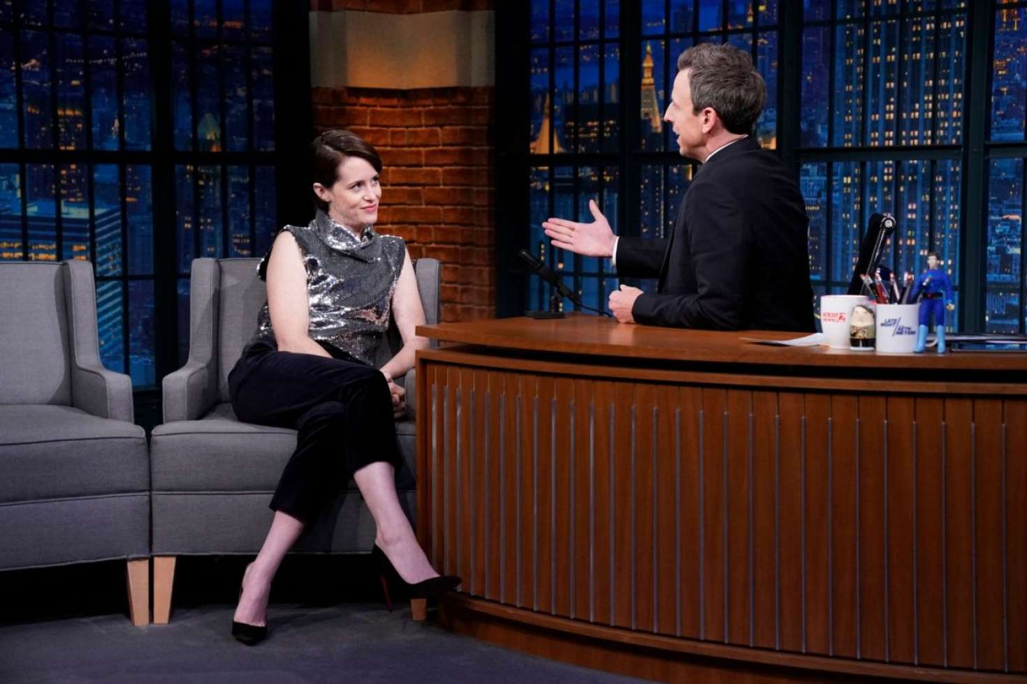 Claire Foy 2018 : Claire Foy on Late Night with Seth Meyers -02
