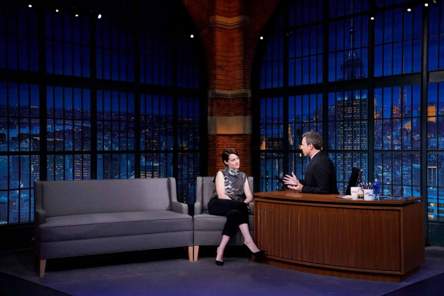 Claire Foy 2018 : Claire Foy on Late Night with Seth Meyers -03