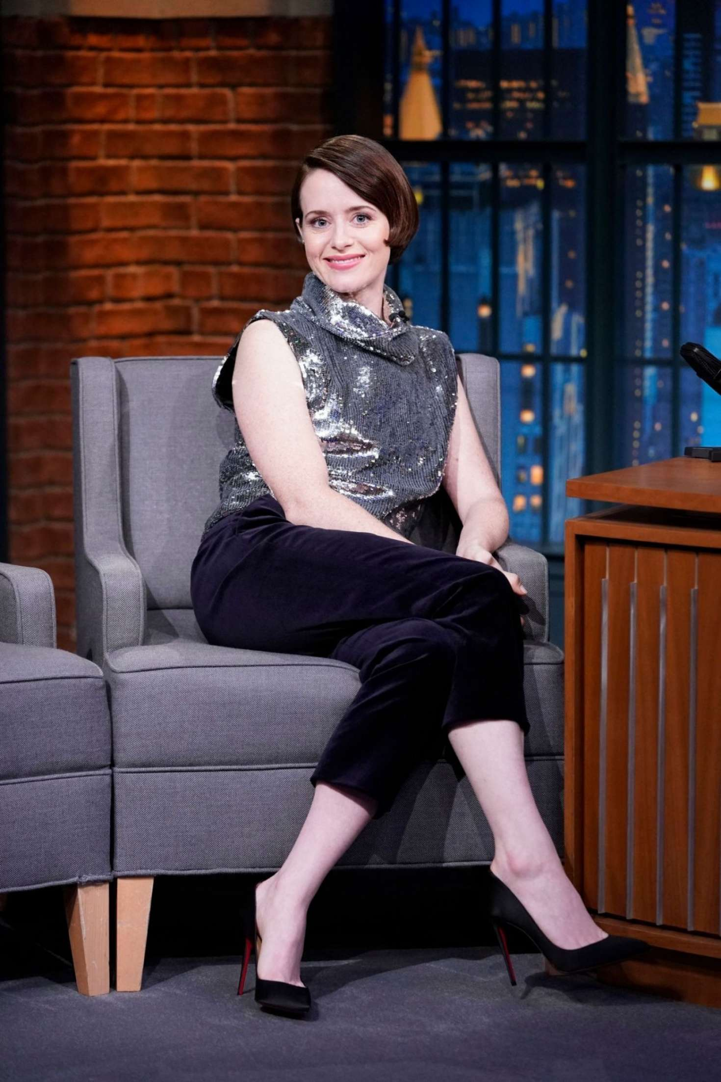 Claire Foy 2018 : Claire Foy on Late Night with Seth Meyers -04