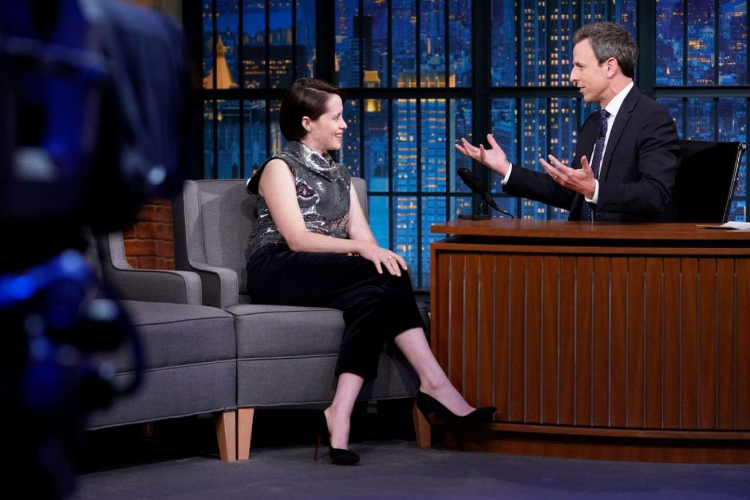 Claire Foy 2018 : Claire Foy on Late Night with Seth Meyers -06