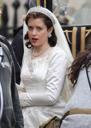 Claire Foy - On The Set Of 'The Crown' in England