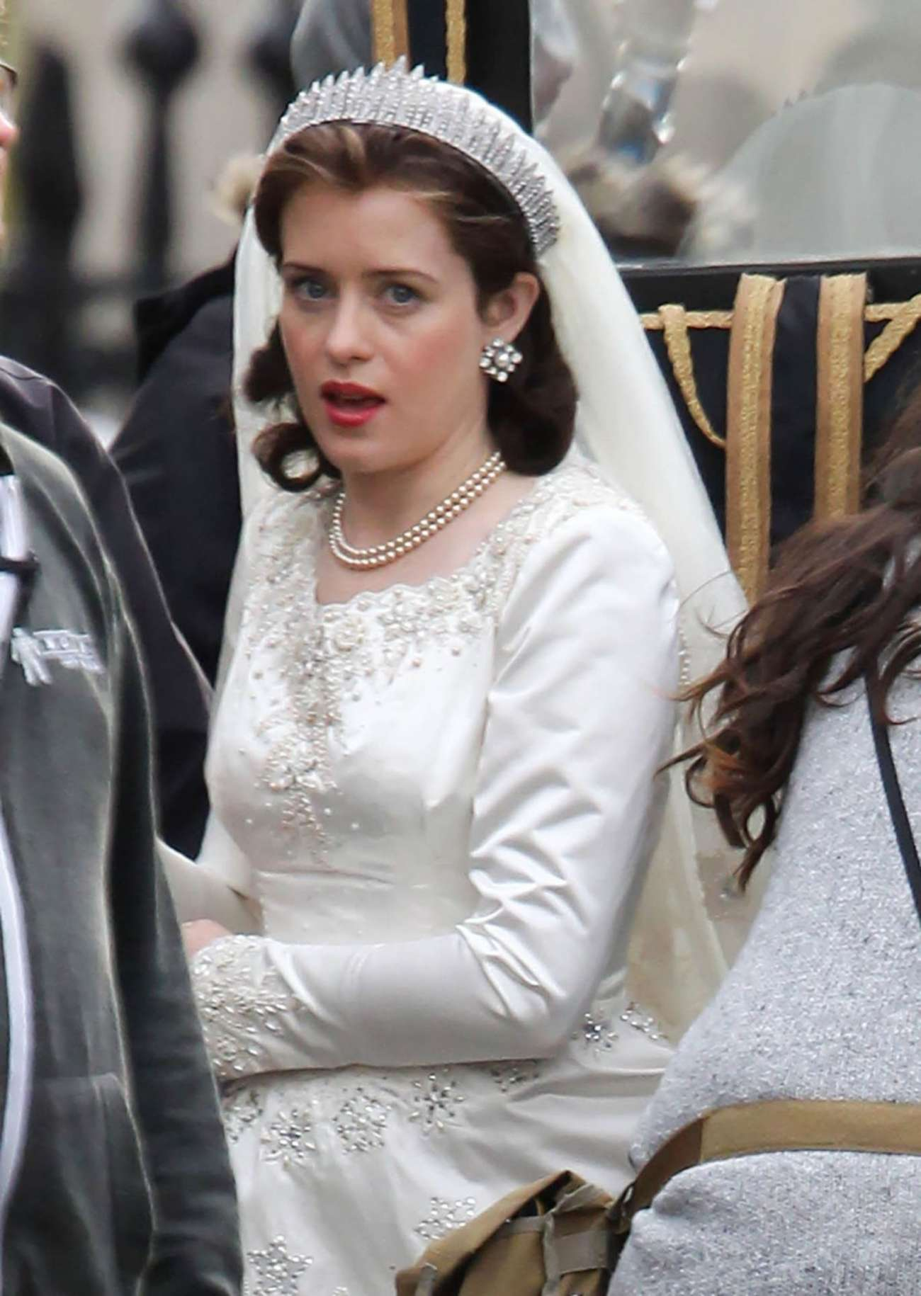 Claire Foy 2015 : Claire Foy: OnThe Crown set -03