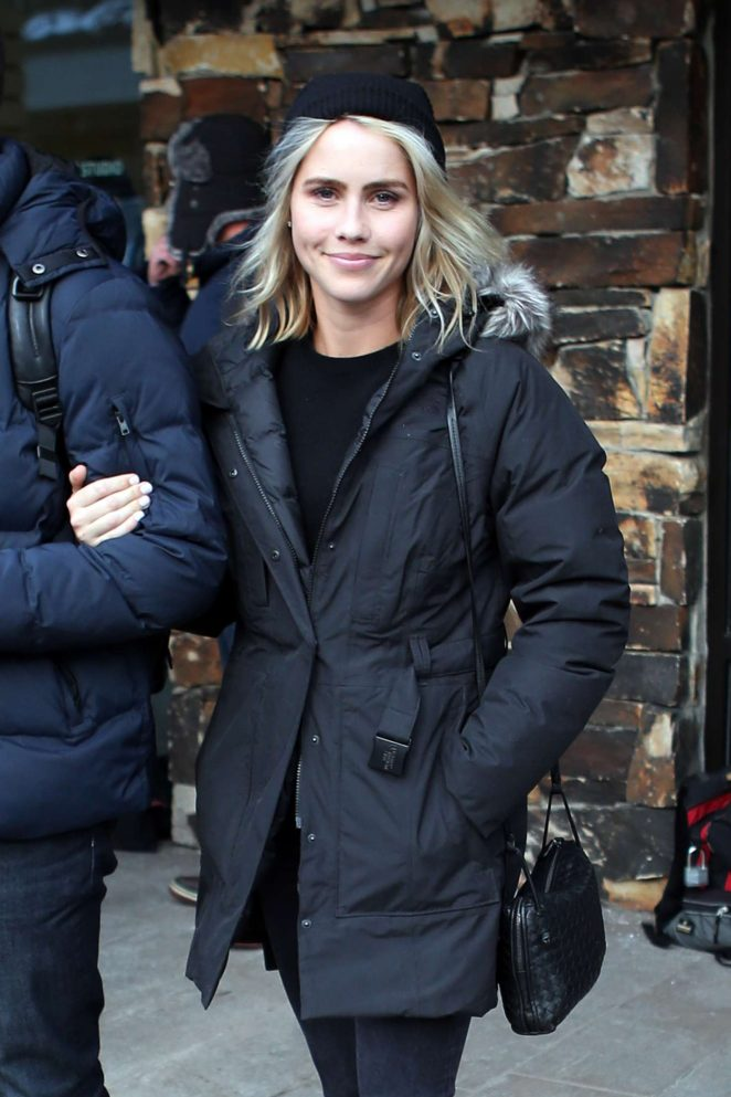 Claire Holt in Black Jacket out in Utah