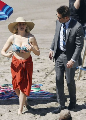 Claire Holt in Bikini Top on the set of 'Aquarius' in Malibu