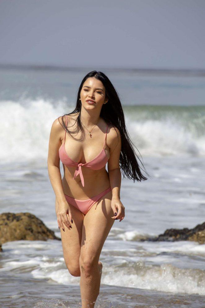 Claudia Alende in Bikini on the beach in Malibu