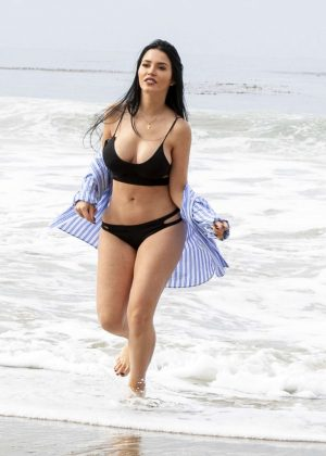 Claudia Alende in Black Bikini on the beach in LA