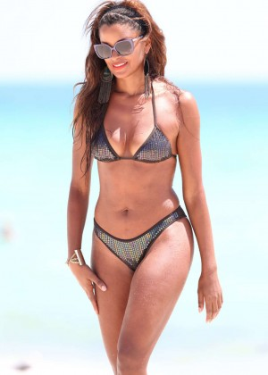 Claudia Jordan in Bikini in Miami