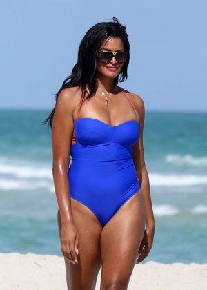 Claudia Jordan in Blue Swimsuit on the beach in Miami