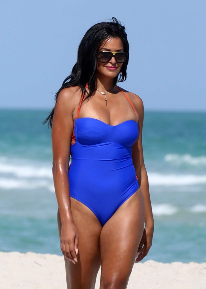 Claudia Jordan in Blue Swimsuit on the beach in Miami