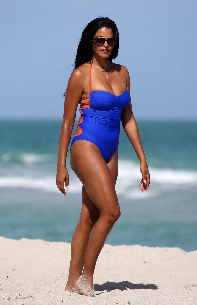 37ab4c913fde Claudia Jordan in Blue Swimsuit 2018 -32 - Full Size