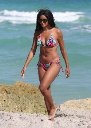 Claudia Jordan in Colorful Bikini on the beach in Miami