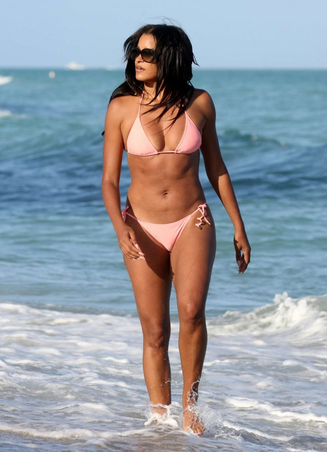 Claudia Jordan in Pink Bikini on the beach in Miami