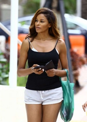 Claudia Jordan in Short Shorts Out in Miami