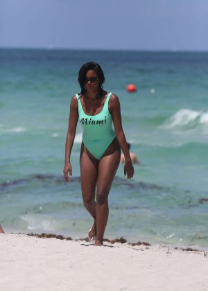 Claudia Jordan in Swimsuit in Miami Beach