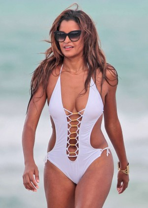 Claudia Jordan in White Swimsuit in Miami