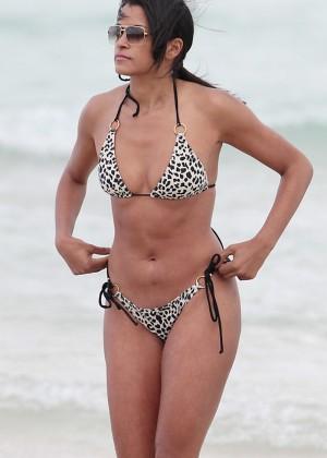 Claudia Jordanin Leopard Print Bikini in Miami